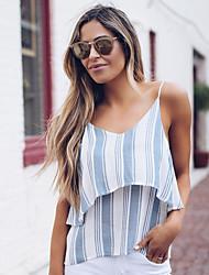 저렴한 -여성용 줄무늬 티셔츠, 베이직