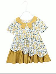 お買い得  -子供 女の子 甘い / かわいいスタイル 幾何学模様 半袖 ドレス イエロー