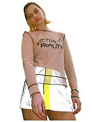 Недорогие -Женская футболка азиатского размера из хлопка тонкая - буквы / сплошной цвет вокруг шеи