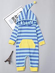 abordables -bébé Fille Actif / Chic de Rue Quotidien / Sortie Rayé Bandes Manches Longues Coton / Spandex Une-Pièce Bleu