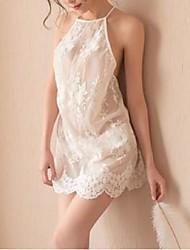 abordables -Femme Costumes Vêtement de nuit Dentelle / Dos Nu / Noeud, Couleur Pleine / Jacquard