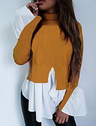 저렴한 -여성용 컬러 블럭 티셔츠, 베이직