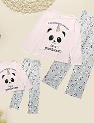 Недорогие -Взрослые Дети Мама и я Активный Классический Повседневные Однотонный Животное Длинный рукав Длинный Пижамы Розовый