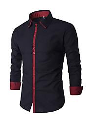 baratos -camisa do tamanho asiático dos homens - colar de camisa de bloco de cor