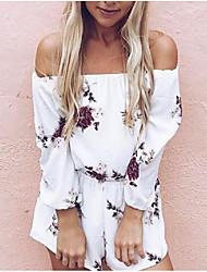 זול -שרוול ארוך M L XL דפוס פרחוני, Rompers רגל רחבה לבן סגנון רחוב בגדי ריקוד נשים