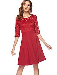 baratos -Mulheres Básico balanço Vestido - Patchwork, Sólido Altura dos Joelhos