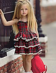 Χαμηλού Κόστους -Μωρό Κοριτσίστικα Βασικό Καθημερινά Καρό Αμάνικο Κανονικό Κανονικό Βαμβάκι / Πολυεστέρας Φόρεμα Θαλασσί