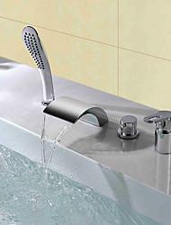 Недорогие -Смеситель для душа / Смеситель для ванны - Современный Хром Разбросанная Керамический клапан Bath Shower Mixer Taps