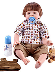 Недорогие -FeelWind Куклы реборн Мальчики Reborn Baby Doll 22 дюймовый Силикон Винил - как живой Ручная Pабота Очаровательный Дети / подростки Нетоксично Детские Универсальные Игрушки Подарок