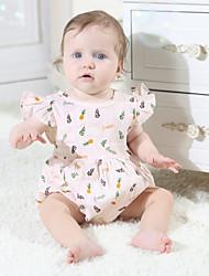 billige -Baby Jente Grunnleggende Geometrisk Printer Ermeløs Bomull Endelt Hvit