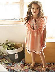 Χαμηλού Κόστους -Παιδιά / Νήπιο Κοριτσίστικα Γλυκός / χαριτωμένο στυλ Φλοράλ Αμάνικο Φόρεμα Ανθισμένο Ροζ