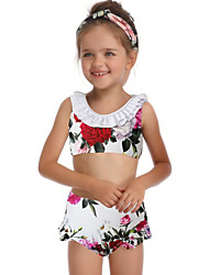 ราคาถูก -เด็ก / Toddler เด็กผู้หญิง พื้นฐาน / สไตล์น่ารัก Sport / ชายหาด ลายดอกไม้ ระบาย เสื้อไม่มีแขน ไนลอน ชุดว่ายน้ำ ขาว