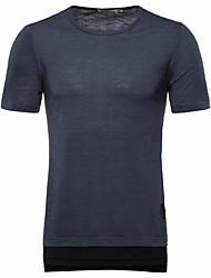 お買い得  -男性用 パッチワーク Tシャツ ソリッド / カラーブロック コットン ホワイト XL