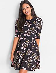 cheap -Women's Basic A Line Sheath Dress - Floral Green Black Red L XL XXL