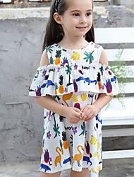 Χαμηλού Κόστους -Παιδιά Κοριτσίστικα Βασικό Φλοράλ Στάμπα Κοντομάνικο Ως το Γόνατο Πολυεστέρας Φόρεμα Λευκό
