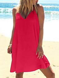 Недорогие -Жен. Тонкие С летящей юбкой Рубашка Платье V-образный вырез До колена