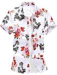 Недорогие -Муж. Большие размеры - Рубашка Хлопок Цветочный принт Белый / С короткими рукавами