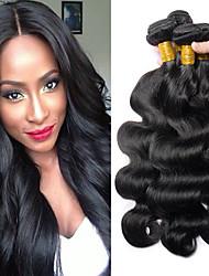 olcso -4 csomópont Brazil haj Hullámos haj Szűz haj Remy haj Az emberi haj sző Késleltető Bundle Hair 8-28 hüvelyk Természetes szín Emberi haj sző Hot eladó Vastag Fekete hölgyeknek Human Hair Extensions Női