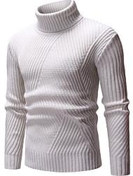 Недорогие -Муж. Однотонный Пуловер Черный / Бежевый / Серый L / XL / XXL