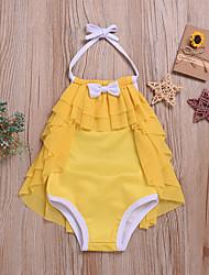 abordables -Niños Chica Activo / Estilo lindo Un Color Espalda al Aire / Acordonado Sin Mangas Poliéster Bañador Amarillo