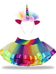 Недорогие -Дети Дети (1-4 лет) Девочки Активный Классический Unicorn Пэчворк Кружева Хлопок Юбка Цвет радуги