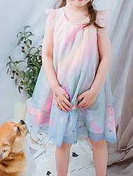 Χαμηλού Κόστους -Παιδιά Κοριτσίστικα Βασικό / Εκλεπτυσμένο Μονόχρωμο Αμάνικο Ως το Γόνατο Φόρεμα Ουράνιο Τόξο