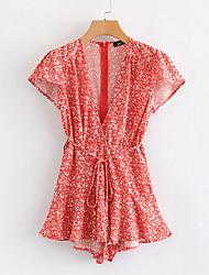 رخيصةأون -قميص نسائي بطول الركبة فستان نسائي بياقة V باللون الأحمر