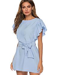 cheap -Women's Elegant Swing Dress - Solid Colored Print Blue M L XL
