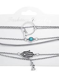 tanie -6 szt. Damskie Wielowarstwowy Zestaw bransoletek Litera Elegancki Modny Bransoletki Biżuteria Srebrny Na Prezent Ulica