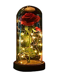 cheap -1pc Beauty and The Beast Rose Rose and LED Light with Fallen Petals in Glass Dome on a Wooden Base Gift for Her - Holiday Birthday Party Wedding