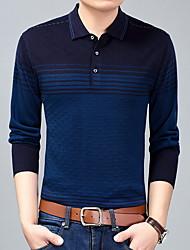 baratos -Homens Camiseta Estampa Colorida Colarinho de Camisa