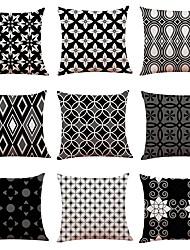 abordables -9 pcs Lin Housse de coussin, simple Formes Géométriques Classique Nouvelle arrivee Style européen