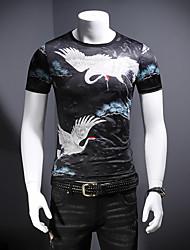 abordables -Hombre Estampado Camiseta Bloques / Animal