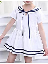 Χαμηλού Κόστους -Παιδιά / Νήπιο Κοριτσίστικα Ενεργό / Γλυκός Patchwork Φιόγκος Κοντομάνικο Πάνω από το Γόνατο Βαμβάκι / Πολυεστέρας Φόρεμα Λευκό