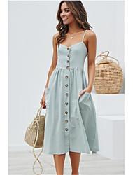 preiswerte -Damen Swing Kleid Solide Midi
