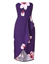preiswerte -Damen Street Schick Anspruchsvoll Bodycon Hülle Das kleine Schwarze Kleid - Rückenfrei mit Schnürung Patchwork, Blumen Asymmetrisch