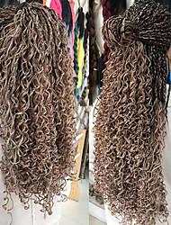 voordelige -Vlechthaar Gekruld Verlenging / Synthetische uitbreidingen Synthetisch haar 6-stuks haar Vlechten Zwart / Grijs 18 inch(es) 46cm uitbreiding / Gehakte Braids Met Menselijk Haar / Afrikaanse vlechten