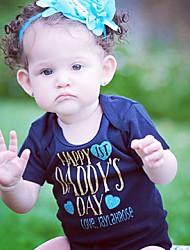 billige -Baby Jente Aktiv / Grunnleggende Geometrisk / Trykt mønster Hjerte Stil / Printer Kort Erme Bomull / Polyester Endelt Blå