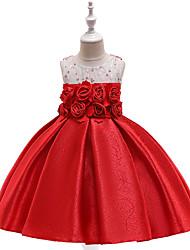 お買い得  -子供 女の子 活発的 / 甘い ソリッド ノースリーブ 膝丈 ドレス ルビーレッド