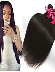 hesapli -3 Paket Düz Brezilya Saçı Düz İşlenmemiş Gerçek Saç İnsan saç örgüleri Uzatıcı Gerçek Saç Postişleri 8-28 inç Doğal Renk İnsan saç örgüleri Kokusuz Yumuşak İpeksi İnsan Saç Uzantıları Kadın's