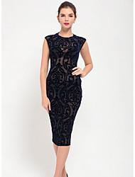cheap -Women's Elegant Sheath Dress - Solid Colored Black M L
