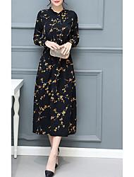 저렴한 -여성용 베이직 우아함 A 라인 드레스 - 플로럴, 레이스 -업 맥시