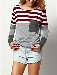 baratos -t-shirt magro do eu / us tamanho das mulheres - em volta do pescoço listrado