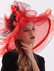 Недорогие -Жен. Для вечеринки Симпатичные Стиль Широкополая шляпа Шляпа от солнца Шифон Кружева,Цветочный принт Все сезоны Желтый Пурпурный Тёмно-синий