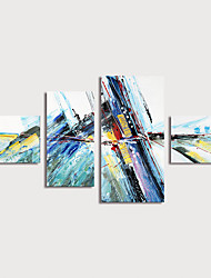 cheap -Oil Painting Hand Painted - Abstract Modern Stretched Canvas / Four Panels