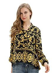 baratos -Mulheres Blusa Gráfico Colarinho de Camisa