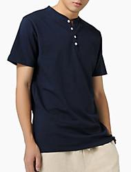 رخيصةأون -قميص الرجل النحيف - الصلبة جولة الرقبة اللون