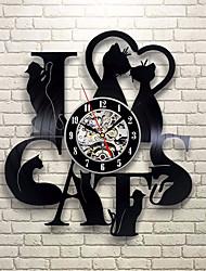 Недорогие -я люблю кошку рекорд настенные часы ретро светодиодные виниловые часы