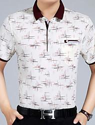 baratos -Homens Camiseta Geométrica Colarinho de Camisa