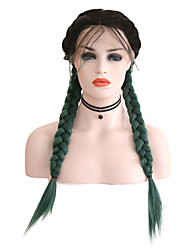cheap -Synthetic Lace Front Wig Matte Green Middle Part Black / Green Synthetic Hair 24 inch Women's Adjustable / Heat Resistant / Women Green / Ombre Wig Long Lace Front / Ombre Hair
